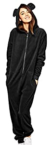 Diffyou Women's Loose Hooded Fleece One Piece Onesie Panda Pajama