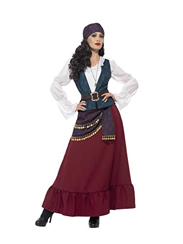 Smiffys Women's Deluxe Pirate Buccaneer Beauty Costume, Dress, Sash, Bandana & Necklace, Pirate, Serious Fun, Plus Size 18-20, 45534 ()