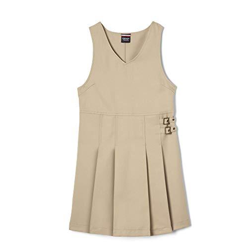 French Toast Big Girls' Double Buckle Tab Jumper, Khaki, - Uniform Dress Jumper