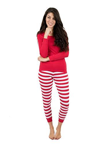 Leveret Womens Pajamas Red Top Striped Pants 2 Piece Pajama Set 100% Cotton Size Small]()