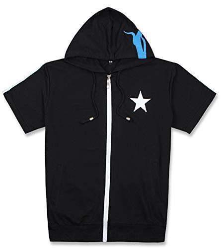 Gumstyle Black Rock Shooter Anime Short Sleeve Zip Hoodie Tee Cosplay Costume Jacket 1-XL