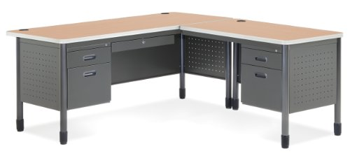 OFM Mesa Series L-Shaped Steel Office Desk with Laminate Top, Right Pedestal Return and Maple Top - Durable Corner Utility Desk (66366R-MPL) - Laminate Office Furniture