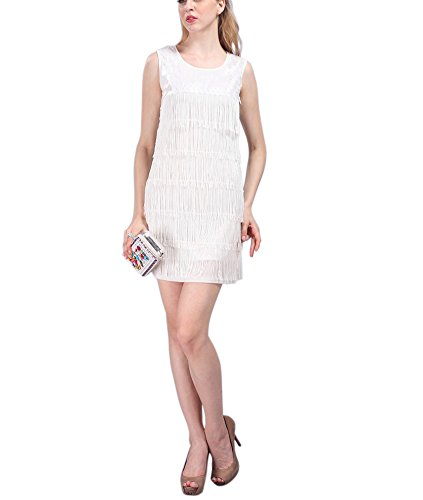 [Roaring 20s Twenties Cocktail Halloween Clothing Dress Costumes for Women White] (Cocktail Dress Halloween Costumes)