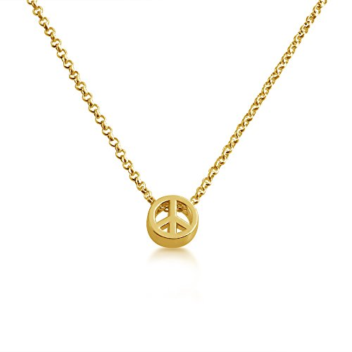 Peace Sign /Peace Symbol Bead Pendant Necklace 14k Plated or 925 Sterling Silver (gold-plated-silver, 16 Inches) (Necklace Peace Gold)