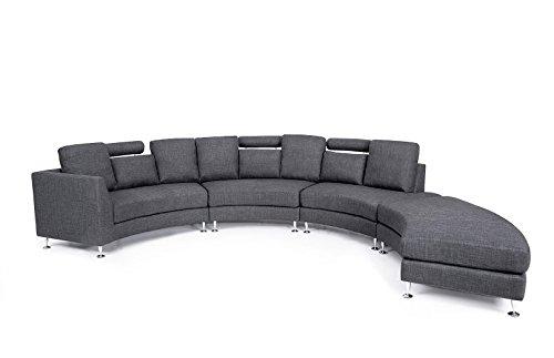 Beliani 11510 Rotunde Round Modern Sectional Upholstered Sofa, Grey