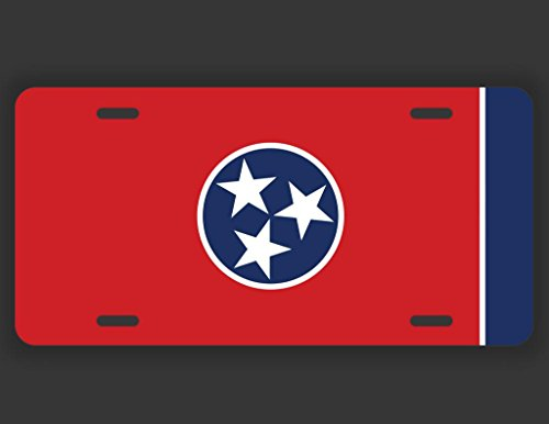 JMM Industries Tennessee State Flag TN Vanity Novelty License Plate Tag Metal Car Truck 12-Inches by 6-Inches UV Resistant Print UVP030
