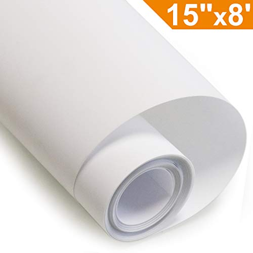 Heat Transfer Vinyl HTV for T-Shirts 15 inches by 8 Feet Rolls (White) by Arhiky