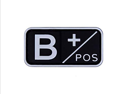 (Morton Home Blood Type ABO Tactical Morale Patch Military Combat Armband Clothing Badge for Jackets Jeans Hat Cap Fluorescent Luminous (B+/POS))