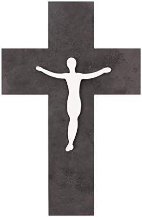 Fritz Cox Jesus - Cruz de piedra natural con cuerpo de metal