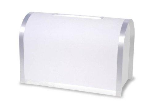Darice VL0038A, Round Card Box with Bottom Door, White Ribbon Trim