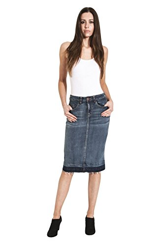 USKEES Mia Denim Pencil Skirt - Midwash Raw Hem Midi Jean Skirt