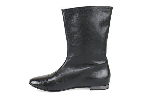 Schuhe Damen FABI Stiefeletten Schwarz Leder AK816
