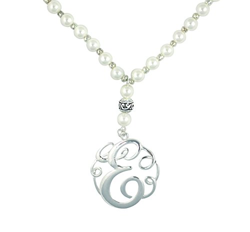 (O3 Monogram Silver Tone Charm 6mm Glass Pearl Body Necklace 30