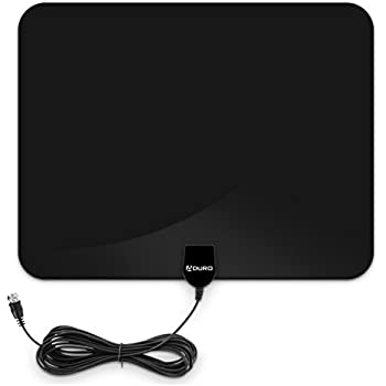 Aduro Amplified HD Digital TV Antenna, 35 Miles Ultra Thin Indoor Antenna Support 4K 1080P for All HDTV Includes Coaxial Cable (Rectangle Black)