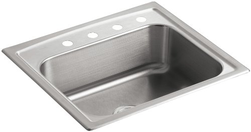 KOHLER K-3348-4-NA Toccata Single-Basin Self-Rimming Kitchen Sink, Stainless Steel
