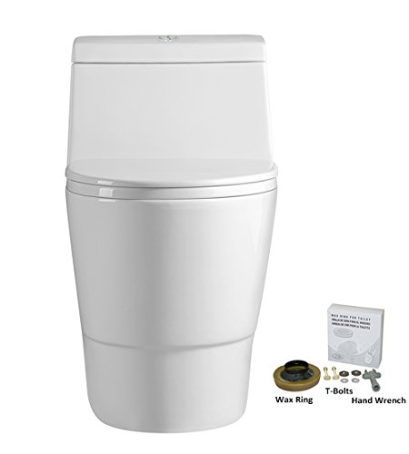 WoodBridge T-0001, Dual Flush Elongated One Piece Toilet with Soft Closing Seat, Comfort Height, Water Sense, High-Efficiency, Rectangle Button