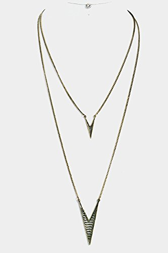 Burnished Gold Pendant - Trendy Fashion Jewelry Double Layered with Spike Pendant Necklace Set By Fashion Destination | (Burnished Gold)