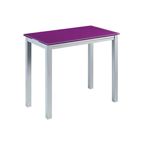 MOMMA HOME Mesa de Cocina Extensible - Modelo Londres - Color Morado/Plata - Material Cristal Templado/Metal - Medidas 95 x 55/95 x 76 cm