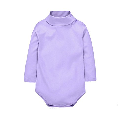 (Jojobaby Baby Boys Girls Polo Neck Long Sleeved Solid Bodysuit Jumpsuit Romper (6 Months, Light Purple))