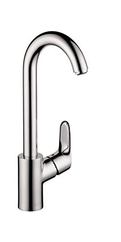 hansgrohe Focus Premium 1-Handle 16-inch Tall Stainless Steel Kitchen Faucet with Pull Down Sprayer...