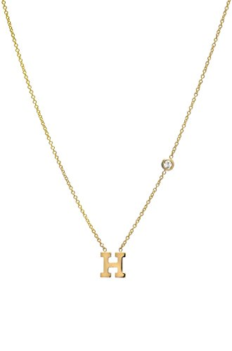 14k gold initial and bezel diamond necklace 2