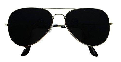Basik Eyewear - Extremely Super Dark Lens Blackout Unisex Metal Pilot Aviator Sunglasses (Silver Frame, Super Dark Black - Dark Sunglasses Extremely