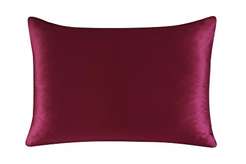 Townssilk Both Side 100% 19mm Silk Pillowcase King Size Pillow Case Cover with Hidden Zipper Claret