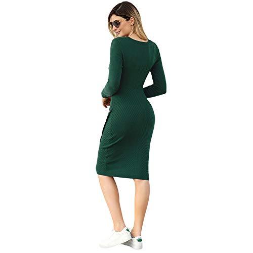 lunghe e Green maniche da donna a maglione con Abito collo alto AnzZxPgPqX