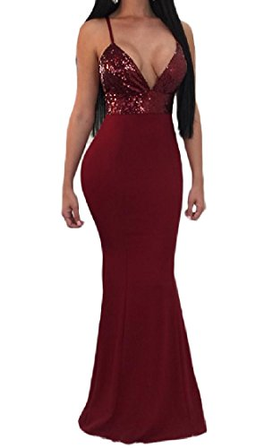 Red Sequin Open Sexy Patchwork Sling Evening Coolred Women V Wine Party Back Dress Neck XOqRxSn