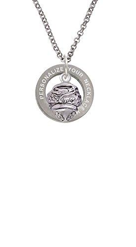 (Antiqued Dragon Spinner Custom Engraved Affirmation Ring Necklace)