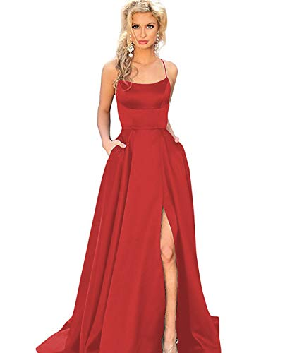 Women's Spaghetti Strap Satin Evening Prom Dress Long Backless Formal Ball Gown with High Slit Size 18W Red ()