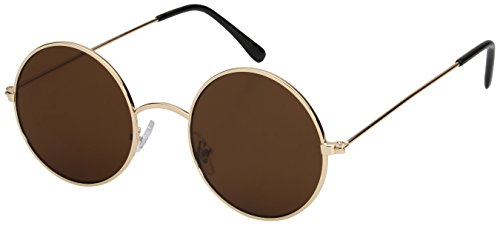 Edge I-Wear Vintage Inspired Round Circle Frames with Flat Mirrored Lens 25100-FLREV-2(G/BN - Cheap Circle Lens