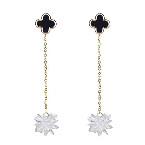 (RYTHUN Gold Snow Flower Pendant Dangle Earring,Wedding Engagement Feast Clover Ear Stud Earrings for Women (Gold))