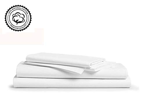 Linenwalas 800 Thread-Count 100% Pure Cotton Bed Sheets On Amazon 3Pc Twin XL Size White Color Sheet Set-Long Staple Combed Cotton Yarns,Best Luxury Sateen Weave,Fits Mattress Upto 16 Deep Pocket.
