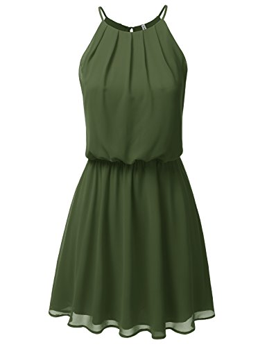 JJ Perfection Women's Sleeveless Double-Layered Pleated Mini Chiffon Dress Olive -