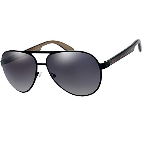 The Fresh Metal Frame Plastic Temple Active Lifestyle Aviator Sunglasses with Gift Box (02-Black-Crystal Grey, Grey Gradient)