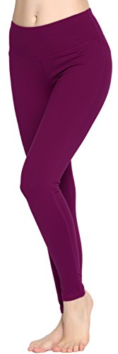 Oalka Women Power Flex Yoga Pants Workout Running Leggings Plum L (Shiny Plum)