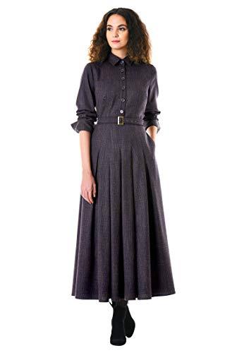 eShakti Women's Graphic Check Suiting Belted Maxi Shirtdress S-4 Short Multi -
