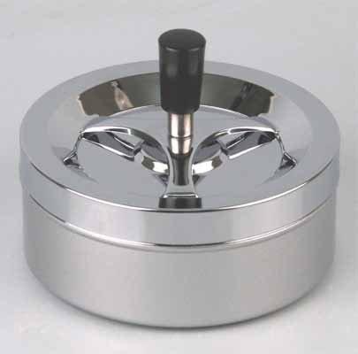Riesiger Schöner moderner Drehaschenbecher, Windaschenbecher, Dreh Aschenber Chrom/ Silber Metallic ca. 14 Durchmesser