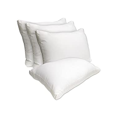Wellrest Faux Gusset Pillow, White, Standard (Pack of 4)