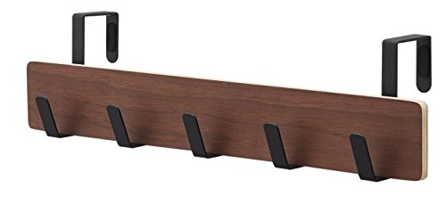 Over the Door 5-Hook Wooden Organizer Rack for Bath Towels, Robes, Coats, Purses or Scarves, Brown - 18 Inches by Red Co.