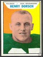 1965 Topps CFL (Football) card#92 Henry Dorsch of the Saskatchewan Roughriders Grade Very Good