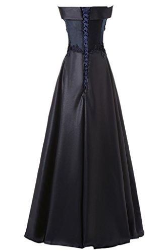 Partykleid Damen Schwarz Applikation U Einfach Promkleid Satin Spitze Festkleid Ausschnitt Ivydressing Abendkleid 0wRpTqgR