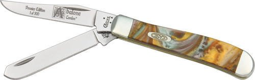 Case Cutlery 9207AB Case Abalone Corelon Mini Trapper Pocket Knife with Stainless Steel Blades, Green, Gray, White and Gold mixed Corelon