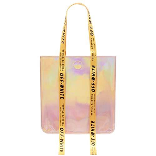 (Women Handbags Leather Messenger Shoulder Bags Laser Clutch Female Cross Body Purse Ribbon pink)