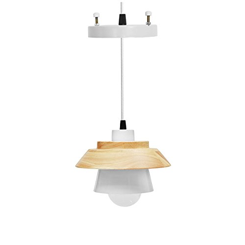 Hitommy E27 Wood Pendant Lights Modern Kitchen Ceiling Hanging Night light AC110-240V - white