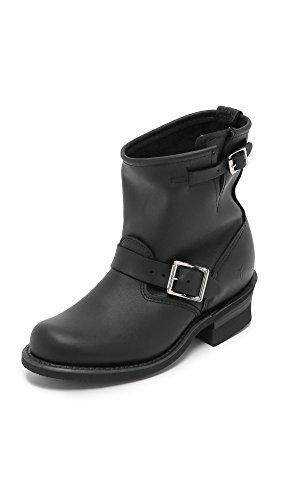 FRYE Women's Engineer 8R Ankle Boot Black Greasy-77500