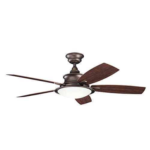Indoor Ceiling Fans 3 Light with Weathered Copper Powder Coat Finish 15 inch 120 Watts