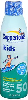 Coppertone Kids Sunscreen Continuous Spray SPF 50 - 5.5 oz, Pack of 5