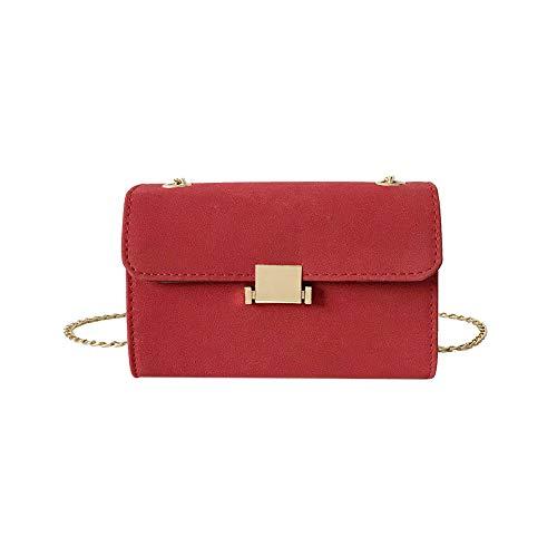 CactusAngui - Bolso bandolera de piel sintética para mujer, diseño clásico, Rojo, Talla única